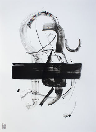 Untitled by Parag Natekar, Abstract Drawing, Acrylic on Paper, Gray color