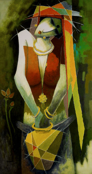 untitled by Surendra Pal Singh, Expressionism Painting, Mixed Media on Canvas, Green color