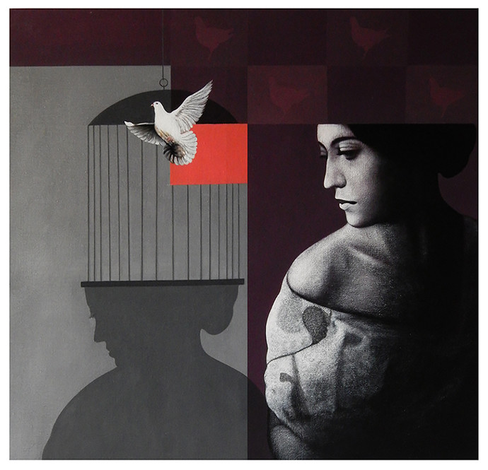 freedom by Pradip Unni, Conceptual Painting, Acrylic on Canvas, Gray color