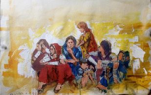 Women Group at Thar desert by Sreenivasa Ram Makineedi, Impressionism Painting, Mixed Media on Paper, Beige color