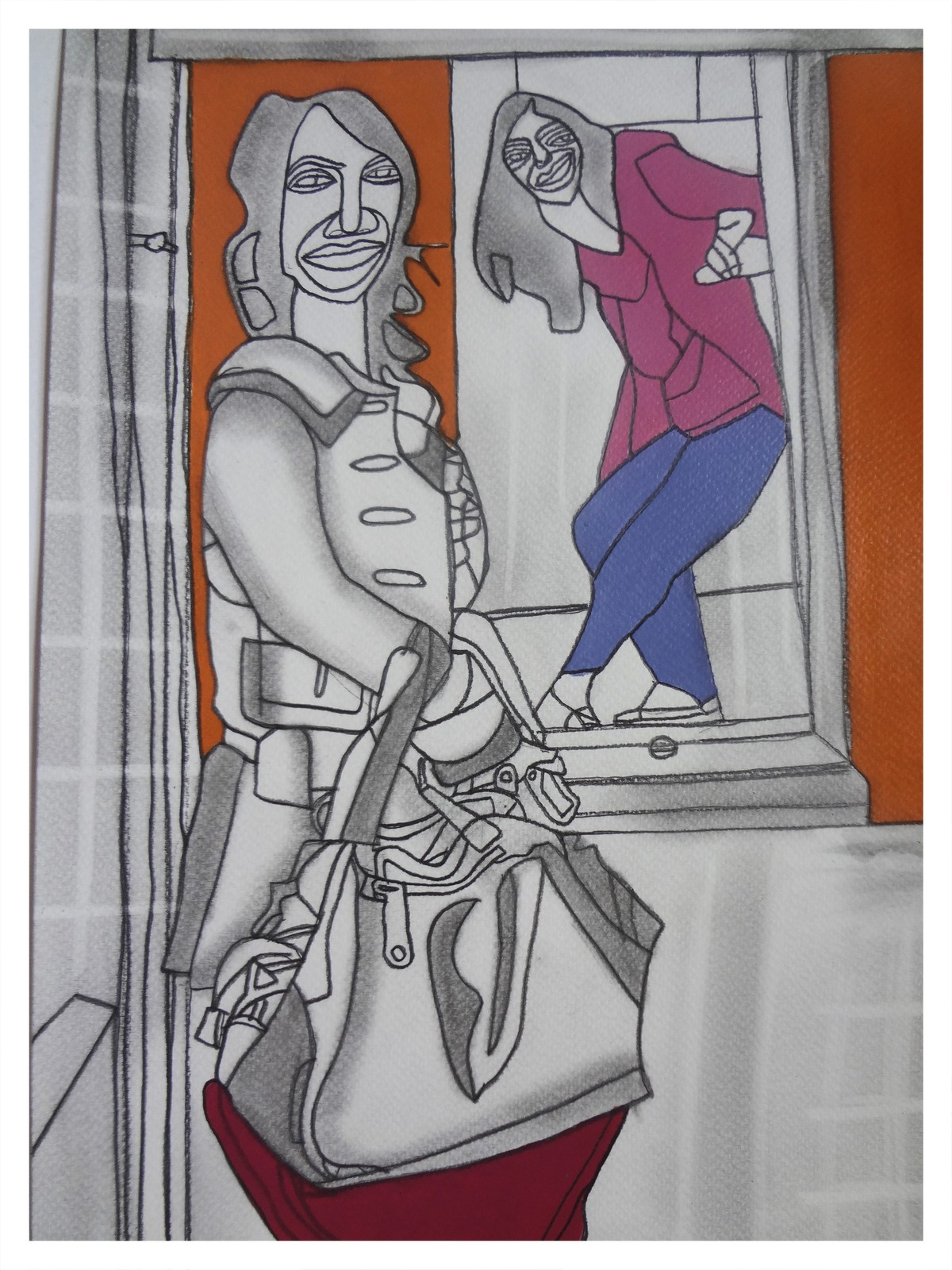 May I Come In? by Amrit Khurana, Expressionism Painting, Acrylic on Paper, Gray color