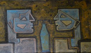 Thanda Thanda Cool Cool by Amit Rajvanshi, Expressionism Painting, Acrylic on Canvas, Green color