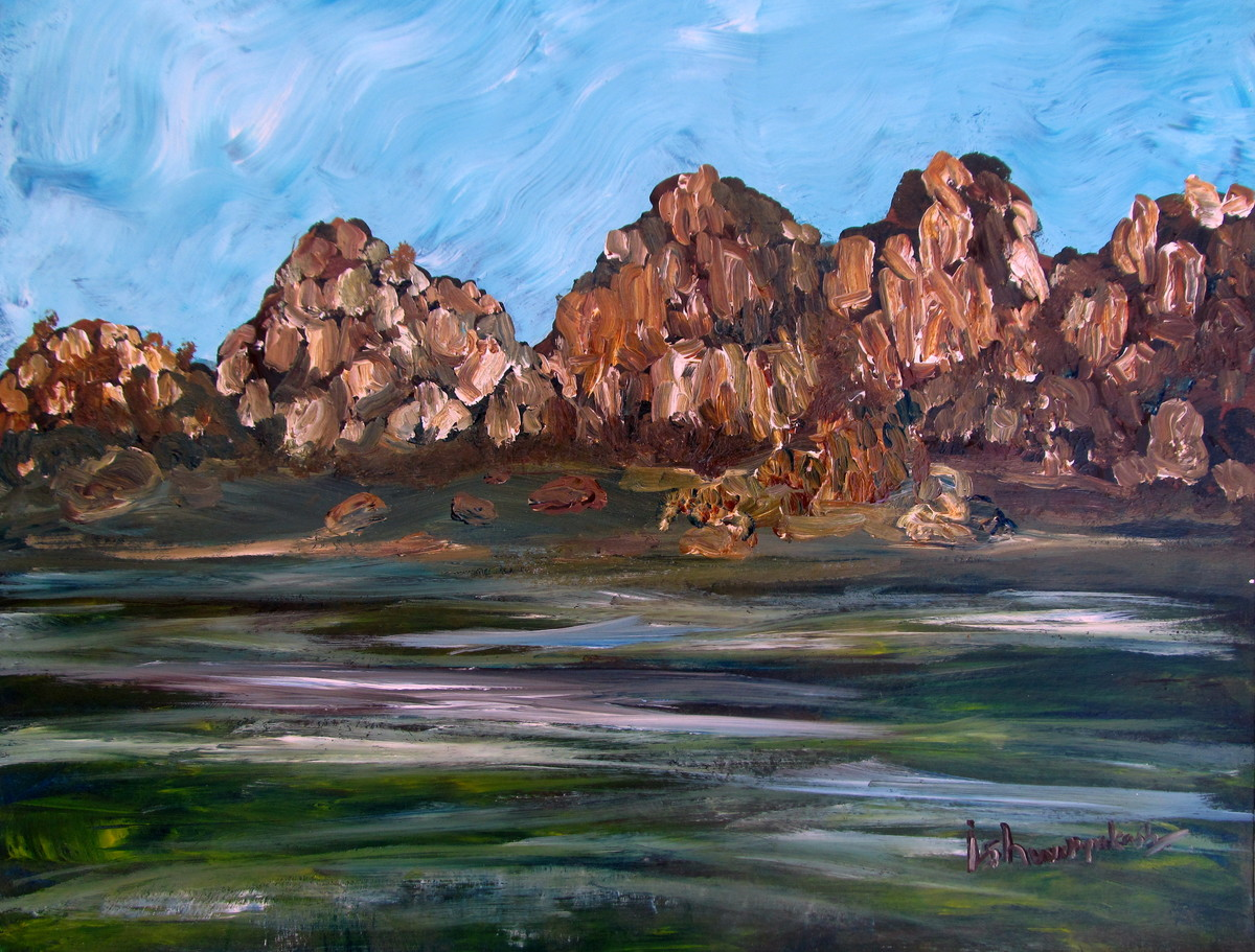stone hills of hampi-002ipk01 by Ishwara Prakash, Impressionism Painting, Acrylic on Paper, Brown color
