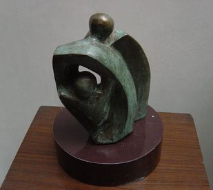 Family by Renu Khandelwal, Art Deco Sculpture | 3D, Bronze, Gray color