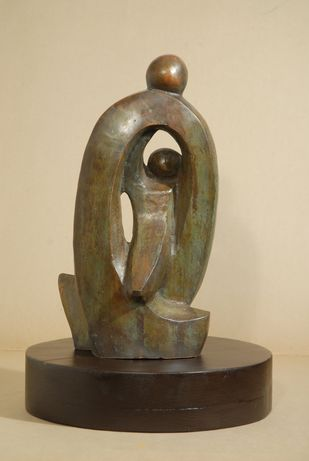 Engulf by Renu Khandelwal, Art Deco Sculpture | 3D, Bronze, Beige color