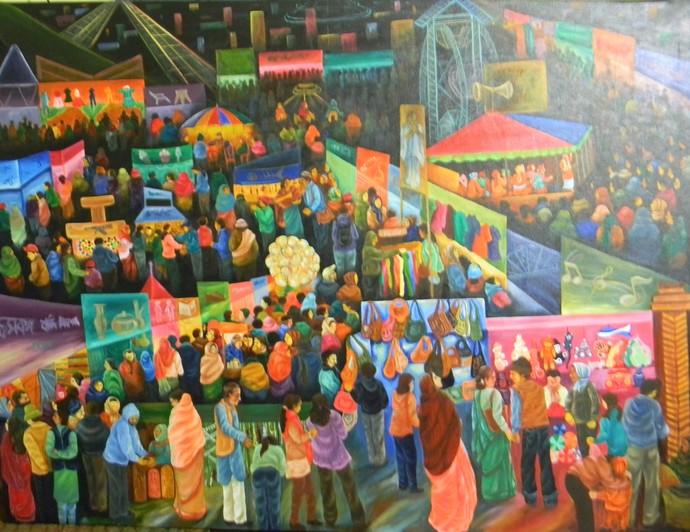 Poush mela by Raka Panda, Impressionism Painting, Acrylic on Canvas, Brown color