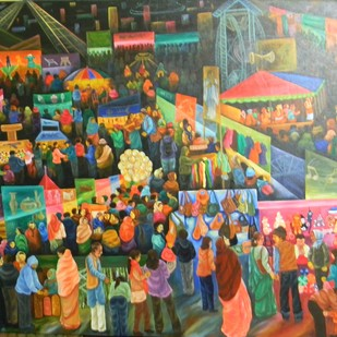 Poush mela by Raka Panda, Impressionism Painting, Acrylic on Canvas, Brown color