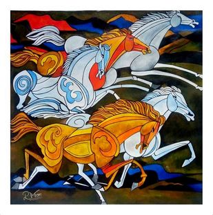 HORSE 3 by PARESH MORE, Geometrical Painting, Acrylic on Canvas, Brown color