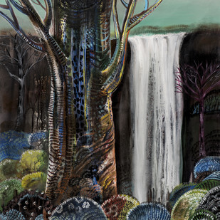 colours of jungle 3 by Arun K Mishra, Fantasy Painting, Acrylic on Canvas, Gray color