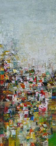 My beautiful city by M Singh, Geometrical Painting, Acrylic on Canvas, Brown color