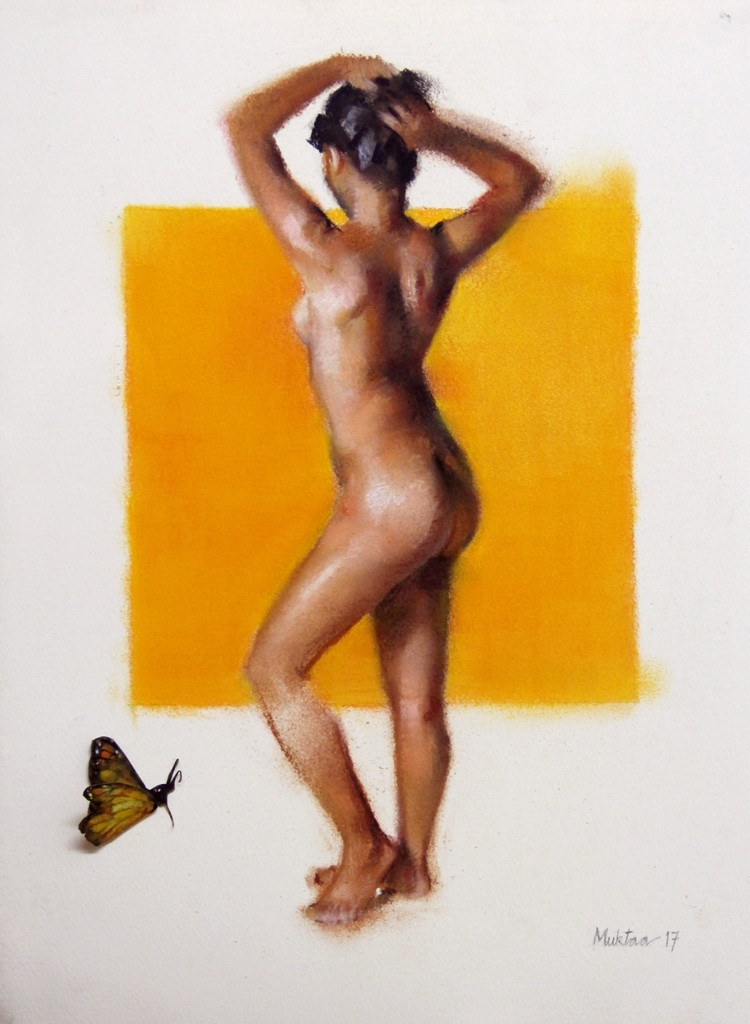 The Yellow One by Mukta Avachat, Realism Painting, Mixed Media on Paper, Gray color