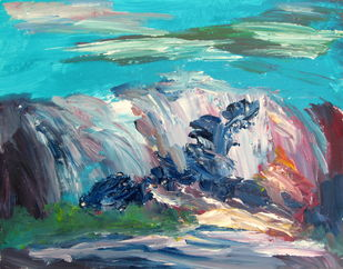 untitled-0631ip by Ishwara Prakash, Impressionism Painting, Acrylic on Paper, Cyan color