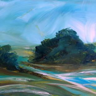 landscape-900ipk by Ishwara Prakash, Expressionism Painting, Acrylic on Paper, Cyan color