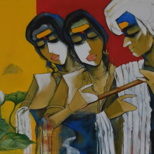 lotus by Sharad Kale, Decorative Painting, Mixed Media on Canvas, Brown color