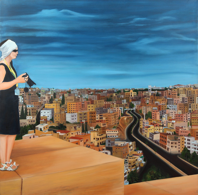 Beyond Borders by Nivedita Pande, Expressionism Painting, Oil on Canvas, Brown color