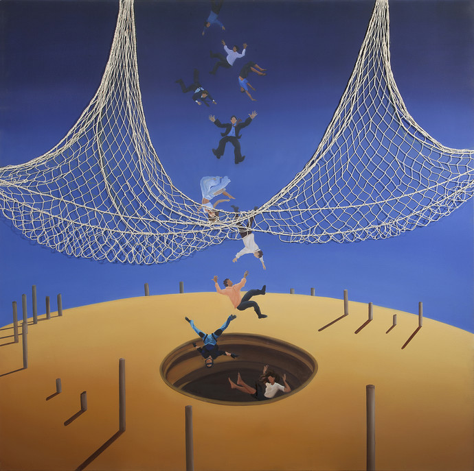 The Lapse by Nivedita Pande, Surrealism Painting, Mixed Media on Canvas, Blue color