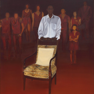 Who gets the chair..(2) by Nivedita Pande, Expressionism Painting, Oil on Canvas, Brown color