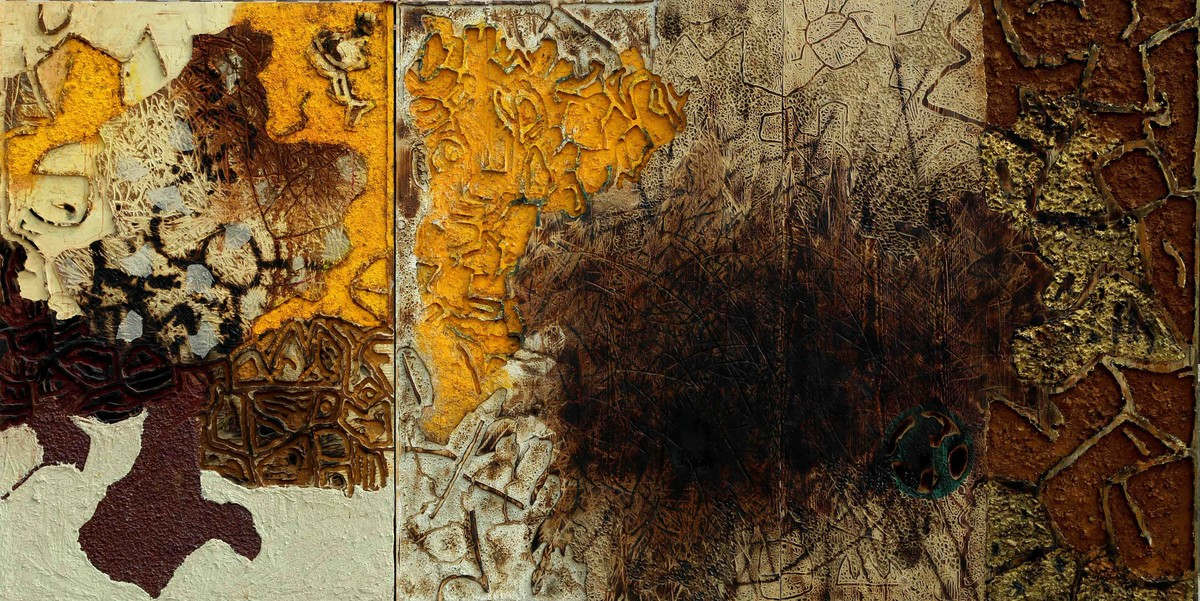 Untitled-B by Abhijit kumar Pathak, Abstract Painting, Mixed Media on Wood, Brown color