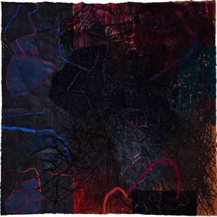 Musical notation-3 by Abhijit kumar Pathak, Abstract Painting, Mixed Media on Cloth, Blue color