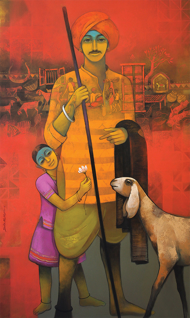 The Unexpressed Love by Sachin Akalekar, Expressionism Painting, Acrylic on Canvas, Brown color