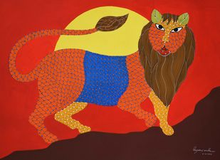 Gond Painting by Unknown Artist, Traditional Painting, Acrylic on Paper, Red color