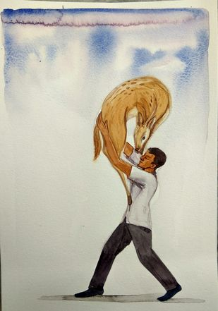 MANN by Sunil Lohar, Expressionism Painting, Watercolor on Paper, Beige color