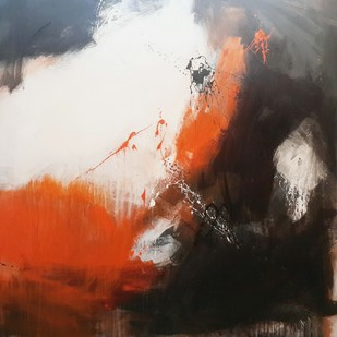 Space ( series ) by Gulrez Ali, Abstract Painting, Mixed Media on Canvas, Brown color