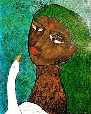She & The Bird XX Digital Print by Sambuddha Duttagupta,Expressionism