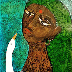 She & The Bird XX by Sambuddha Duttagupta, Expressionism Painting, Acrylic on Board, Green color