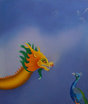 Dragon and Peacock by Shailja Shah, Expressionism Painting, Oil on Canvas, Blue color