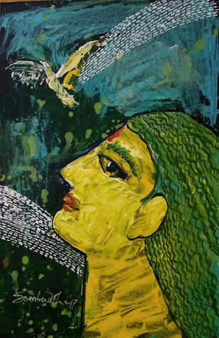 She & The Bird IV by Sambuddha Duttagupta, Expressionism Painting, Acrylic on Board, Green color