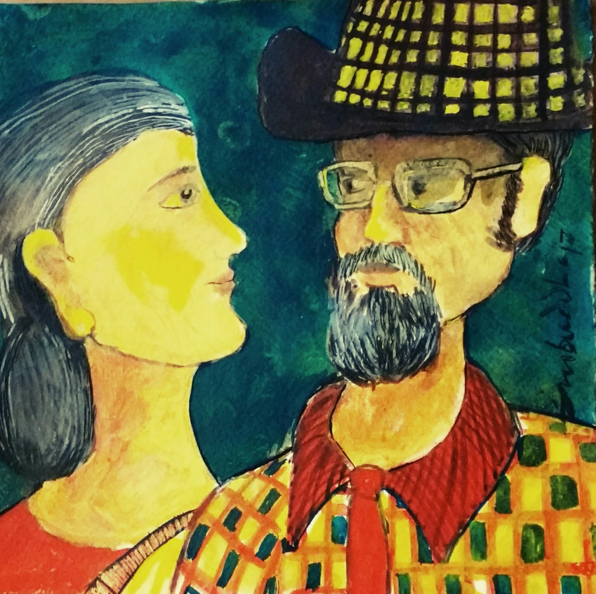 The Couple by Sambuddha Duttagupta, Expressionism Painting, Acrylic on Paper, Green color