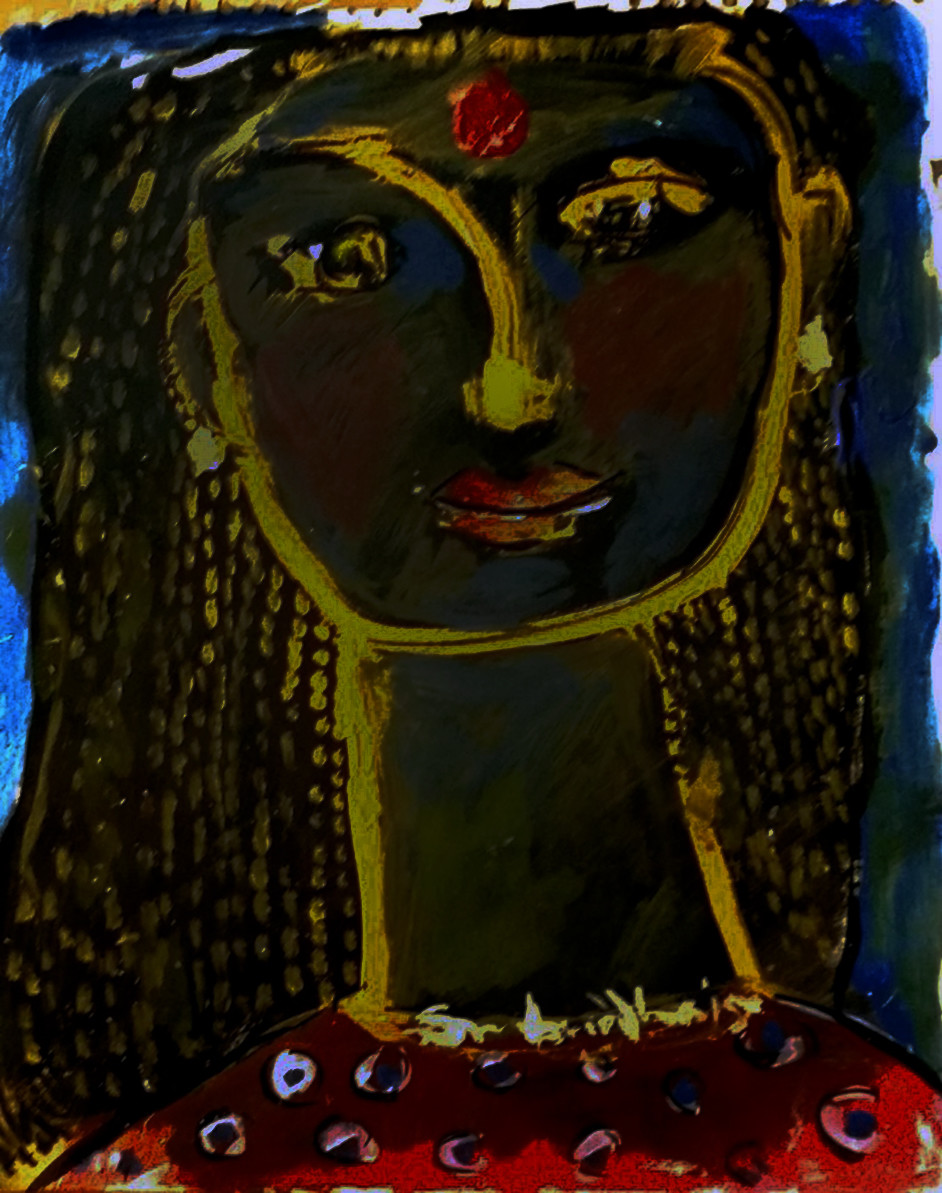 Portrait of a lady X by Sambuddha Duttagupta, Expressionism Painting, Acrylic on Paper, Blue color