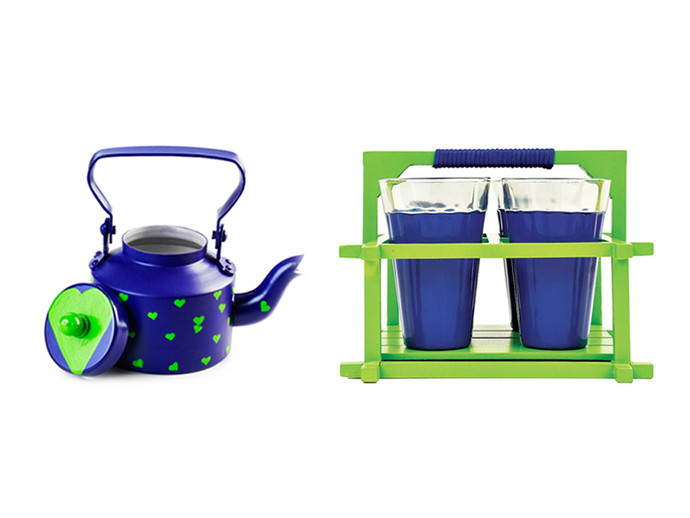 PoppadumArt The Chaiwala Tea Set - Royal Blue & Green (Large) Serveware By PoppadumArt
