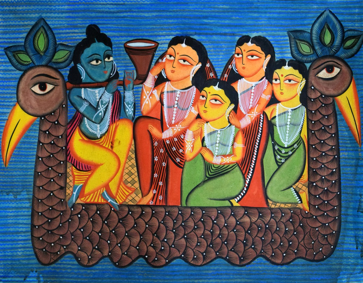 Kalighat Painting by Unknown Artist, Traditional Painting, Watercolor on Paper, Blue color