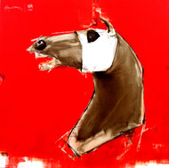 the red charge by Aditya Shirke, Expressionism Painting, Oil & Acrylic on Canvas, Red color