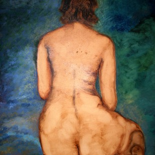 Woman VI by Ratnakar Ojha, Realism Painting, Oil on Paper, Brown color