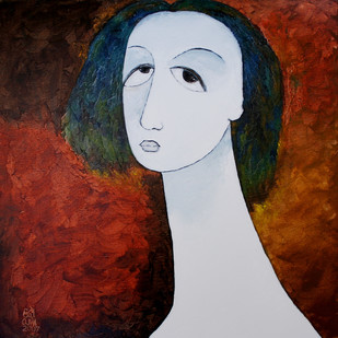 Face by Ratnakar Ojha, Expressionism Painting, Oil on Canvas, Brown color