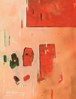 untitled by A K Raina, Abstract Painting, Acrylic on Canvas, Red color