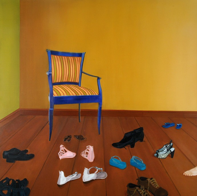 Who gets the Chair.. by Nivedita Pande, Realism Painting, Oil on Canvas, Brown color