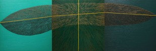 Untitled-093 by Sandesh Khule, Geometrical Painting, Oil on Canvas, Green color