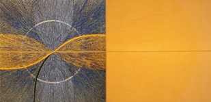 Untitled-095 by Sandesh Khule, Geometrical Painting, Oil on Canvas, Orange color