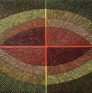 Untitled-098 by Sandesh Khule, Geometrical Painting, Oil on Canvas, Brown color