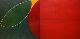 Untitled-092 by Sandesh Khule, Geometrical Painting, Oil on Canvas, Red color