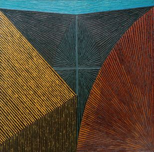Untitled-089 by Sandesh Khule, Geometrical Painting, Oil on Canvas, Brown color