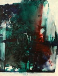 Untitled by A K Raina, Abstract Painting, Acrylic on Canvas, Green color