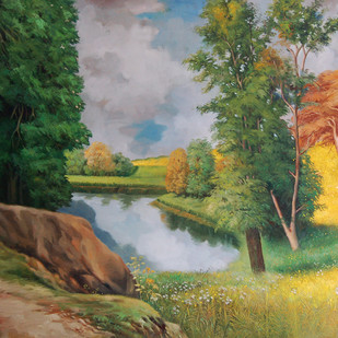 Nature - II by Biraj Kumar Paul, Impressionism Painting, Oil on Canvas, Green color