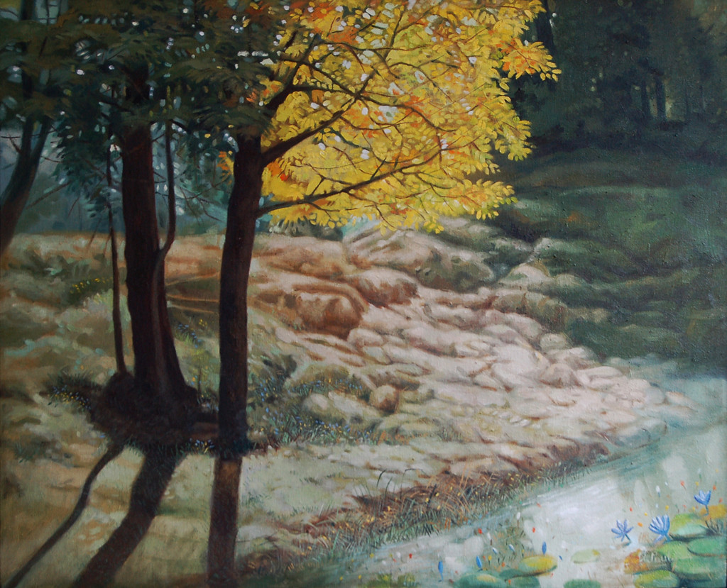 Nature - III by Biraj Kumar Paul, Impressionism Painting, Oil on Canvas, Green color