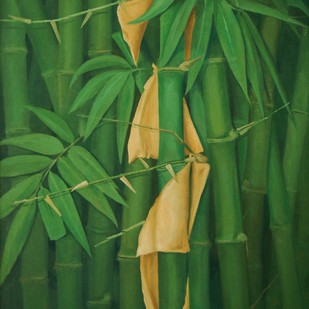 Bamboo Grove by Biraj Kumar Paul, Abstract, Impressionism Painting, Acrylic on Canvas, Green color