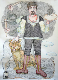 Land Developer by Anjan Modak, Expressionism Painting, Watercolor on Paper, Gray color